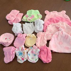 Newborn mittens, hat, and booties